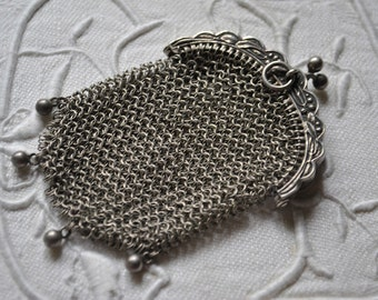 Antique Chatelaine purse, Vintage French Chainmail Purse, Victorian Silver Coin Pursse, French Antiques