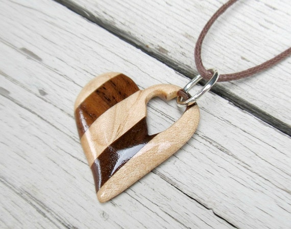 Wooden heart necklace maple walnut hardwoods women 39 s for How to carve a wooden ring