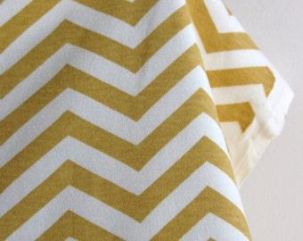 Organic KNIT Skinny Chev in Sun - Mod Basics 2 Collection from Birch Fabrics -  One FAT QUARTER Cut