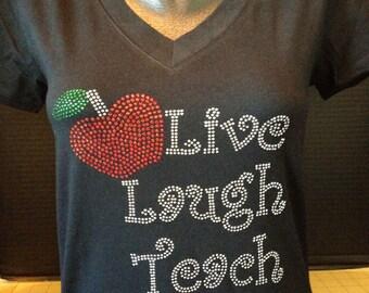 Live-Laugh-Teach Custom Bling T-Shirt