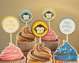 Boy Mod Monkey Cupcake Toppers (Set of 12)