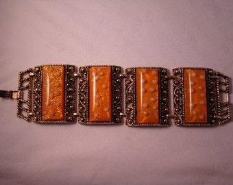 Designer Bracelet Vintage Lucite and Brass Metal Link