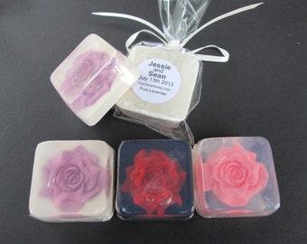Wedding Favor - rose, custom ooak, personalized, glycerin soap favor,