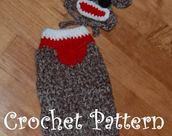 Instant Download Crochet Pattern - Sock Monkey Dog Sweater and Hat - Small Dog 2-20 lbs