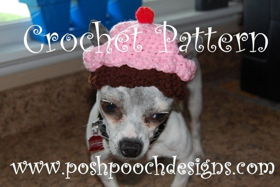 Instant Download Crochet Pattern - Cupcake Dog Hat - Small Dog Beanie Birthday Hat