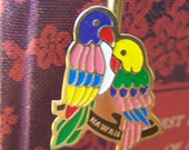 "Vintage 1987 ""ENAMELED LOVE BIRDS"" Book  Mark / Hook"