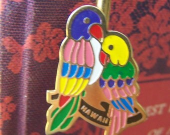 "Vintage 80's  ""ENAMELED LOVE BIRDS"" Hawaiian Book  Mark / Hook"