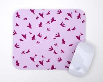 Mouse Pad / Silhouetted Swallows Birds  / Home Office Decor / Iris Purple Lilac Lavender Mousepad