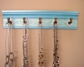 READY to SHIP necklace organizer holder w/ 5 deep ceramic hooks holds multiple necklaces on metallic aqua finish 15 ""