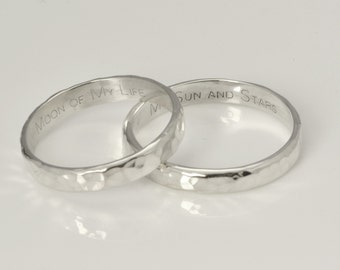 Engraved Wedding Bands, Engraved Ring Band, Personalized Ring, Engraved Ring, Personalized Jewelry, Hammered Ring, Silver Wedding Bands