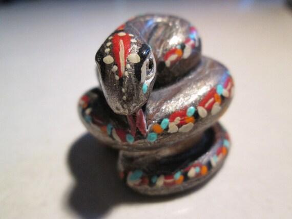 netsuke, hand carved, hand painted, SNAKE, RATTLER... serious pocket snake.. TREASURY
