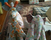 Hand sewn stuffed giraffe and elephant