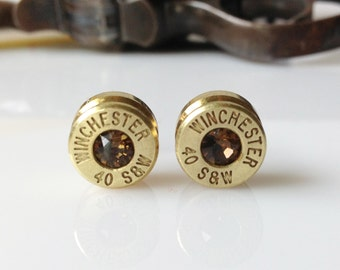 Swarovski Smokey Quartz Winchester 40 Smith and Wesson Bullet Earrings