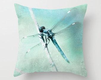 Velveteen Pillow Dragonfly Magical Blue Teal Aqua Whimsical Nature Botanical Dreamy Bokeh Nursery Decor, Retro Style Living Room Decor
