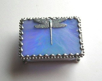 Stained Glass Jewelry Box|Trinket Box|Treasure Box|Dragonfly|Blue|Jewelry|Jewelry Storage|Handcrafted|Made in USA