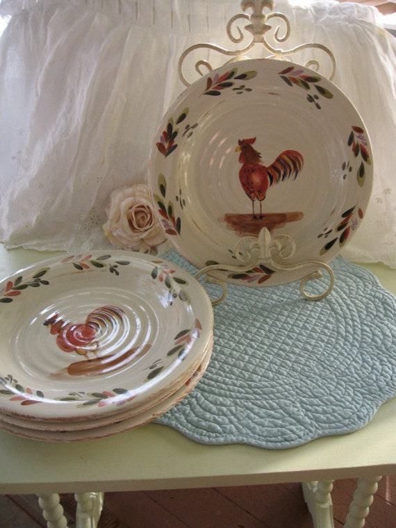 Rooster Dinnerware Plates Shabby French Farmhouse Painted