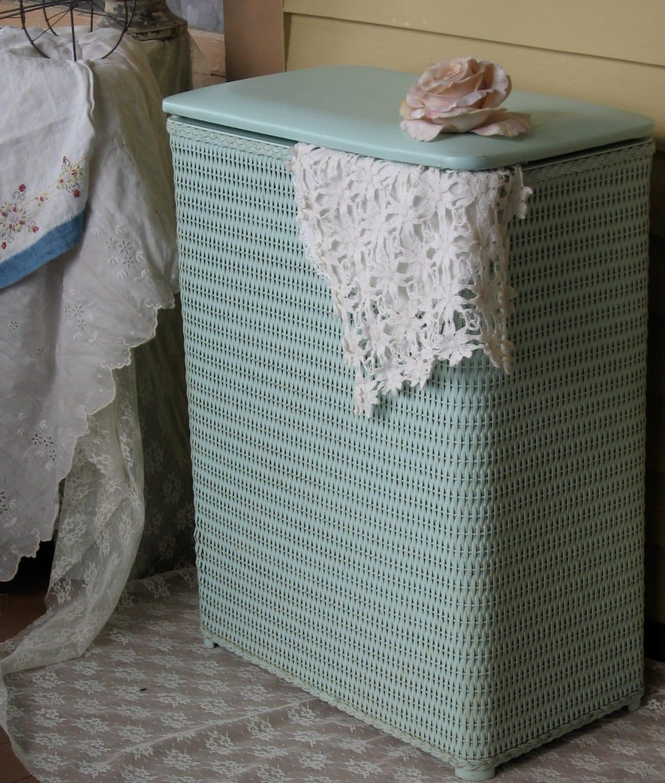 Vintage Laundry Hamper Vintage Mint Green Pearl Wick Hamper