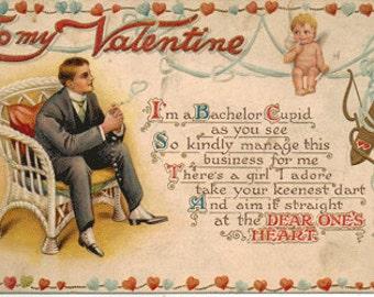 Vintage postcard, Valentine Postcard, Bachelor Cupid with Arrows, ca 1920