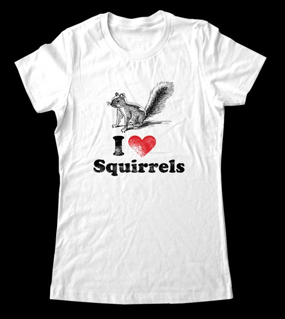 I Love (Heart) SQUIRRELS - Soft Cotton T Shirts for Women, Men/Unisex, Kids