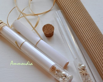 Message in a bottle-Invitation in a glass tube-Destination beach wedding invitation -  beach bridal shower- baby shower invitation