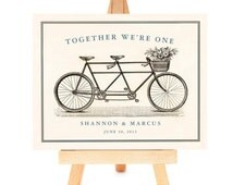 Tandem Bike Bride and Groom Custom Wedding Gift for Couples Unique Engagement Gift Personalized Art Print Bicycle for Two