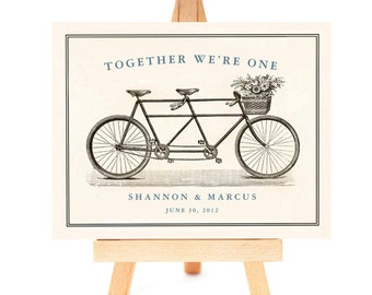 Tandem Bike 11x14 art Wedding Gift for Couples, Unique Engagement Gift, Tandem Bicycle Personalized Art Print Bicycle for Two