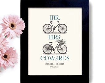 Personalized Unique Wedding Gift Cyclist Art Bicycle Art Cute Wedding Gift Mr and Mrs Gift for Couples Anniversary Gift