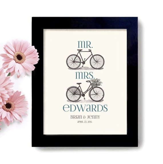 Wedding Gift Personalized Art : Personalized Unique Wedding Gift, Bicycle Art, Mr and Mrs, Gift for ...