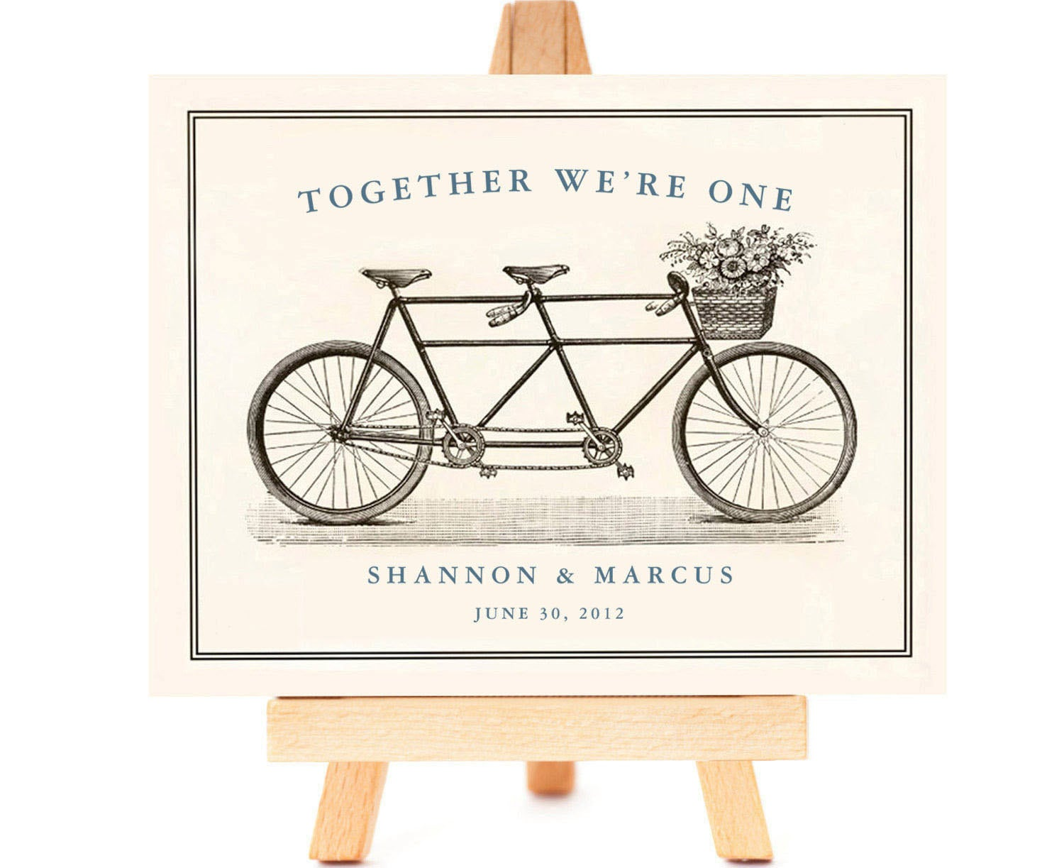 Wedding Engagement Gifts For Couples: Tandem Bike Bride And Groom Custom Wedding Gift For Couples