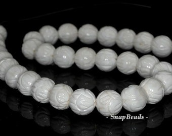 10mm Baroque Shell Gemstone White Cream Carved Round 10mm Loose Beads 15.5 inch Full Strand (90143564-236)