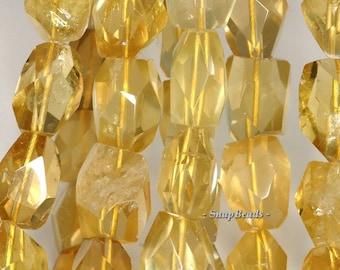 18x12mm Lemon Quartz Gemstone Yellow Faceted Nugget Loose Beads 15.5 inch Full Strand (90147663-276)