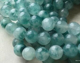 1 Strand of 8 mm Pastel Round Olive Drab Flower Jade Gem Stones (.mut)(.gz)