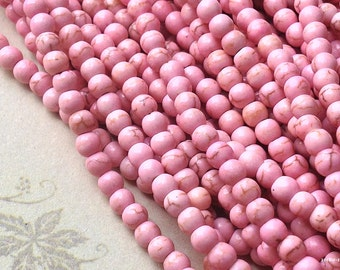 "1 Full Strand (15"") (over 85 pieces) of 4 mm Light Pink Turquoise Gem Stone Beads(gz sdu - t.g)"