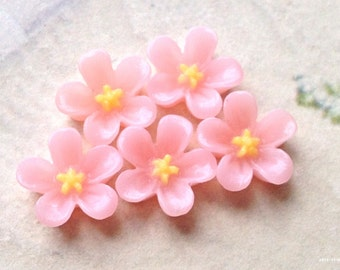 13 mm Light Pink Colour Water Melon Resin Flower Cabochons (.ss).