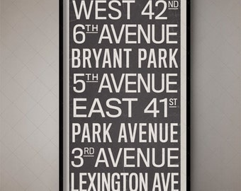 New York City Vintage Subway Typographic Art / Subway Scroll 4, NYC Subway Print, New York Subway Poster, Gotham City, Large Wall Art, Retro