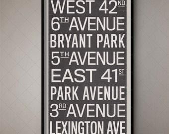 New York City Vintage Subway Typographic Art / Subway Scroll 4, NYC Subway Print, New York Subway Poster, Gotham City, Large Wall Art, Retro