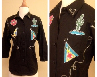 Rockabilly Pinup 1980s Vintage Southern Western Womens Woven Button Up - Texas Mexico Mexican Native American - Cactus Howling Coyote Wolf