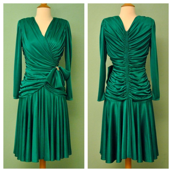 Vintage Green 1980s Formal Dress with Bow and Rhinestone Detailing
