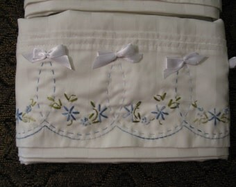 Handmade Embroidered Pillow Cases Blue Floral and Bows OOAK