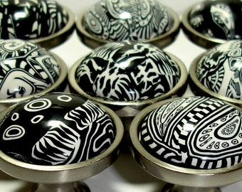 Set of 8 Cabinet Knobs in Black & White by Outrageous Knobs