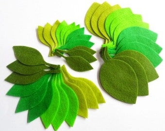 Felt Leaves GREEN, 36 pieces, Die Cut Shapes, felt shapes, Party Supply, DIY Wedding, Scrap supply, leaves, green leaves