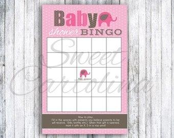 INSTANT DOWNLOAD - Printable Pink Elephant Baby Shower Bingo Game