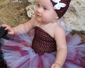 Maroon, White, and Silver Tutu Plus Maroon Crochet Top