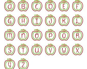 Apple Applique Alphabet - 26 Letters - 3 Sizes Each Letter - INSTANT DOWNLOAD