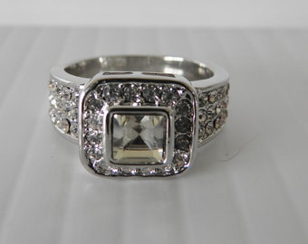 Dramatic Dazzling Lab Created Diamond Ring, Silver Plate