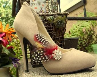 Shoe Clips Bridal shoe clips feather shoe clips fall shoe clips autum wedding shoe clips rustic shoe clips rhinestone shoe clips shoes