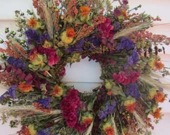Medium Dried Flower Indoor Wreath with Colorful Flowers
