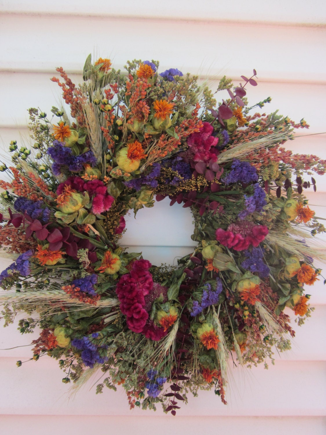 Small Dried Flower Fall Wreath with Colorful Flowers