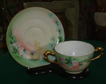 Limoges Tea Cup and Saucer with Artist Initals and Dated