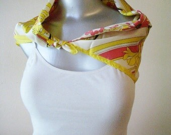 "PAOLI-- Vintage Bright Yellow Floral Scarf Made in Japan 23"" SQ"